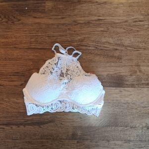 Pink Victoria's Secret White Crochet Lace Bra M